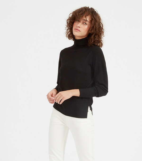 Women's Luxe Wool High Rib Turtleneck Sweater by Everlane in Black, Size S