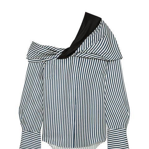 Calla Off-the-Shoulder Striped Silk-Satin Twill Top