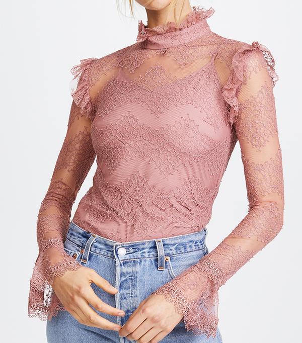 Thalia Lace Ruffle Blouse