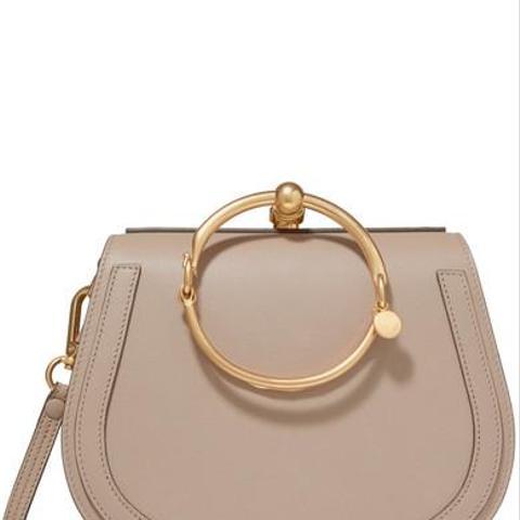Nile Bracelet Medium Textured-Leather and Suede Shoulder Bag