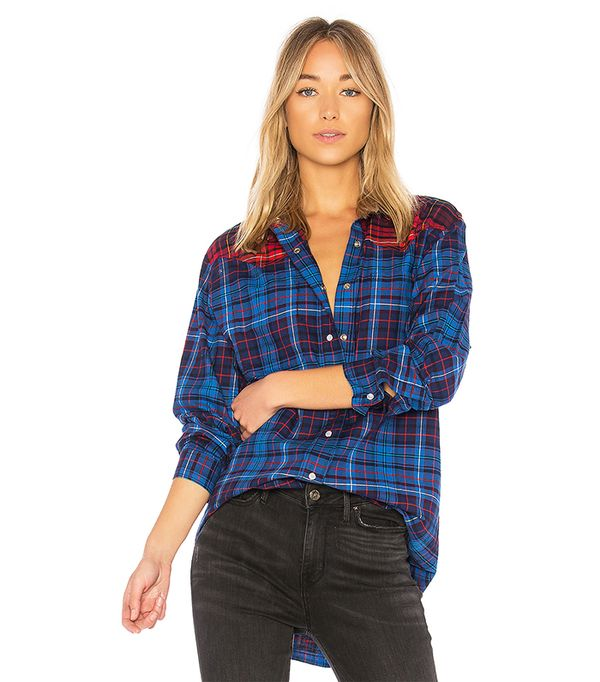 TOMMY X GIGI Flannel Shirt in Blue. - size 4 (also in 2)
