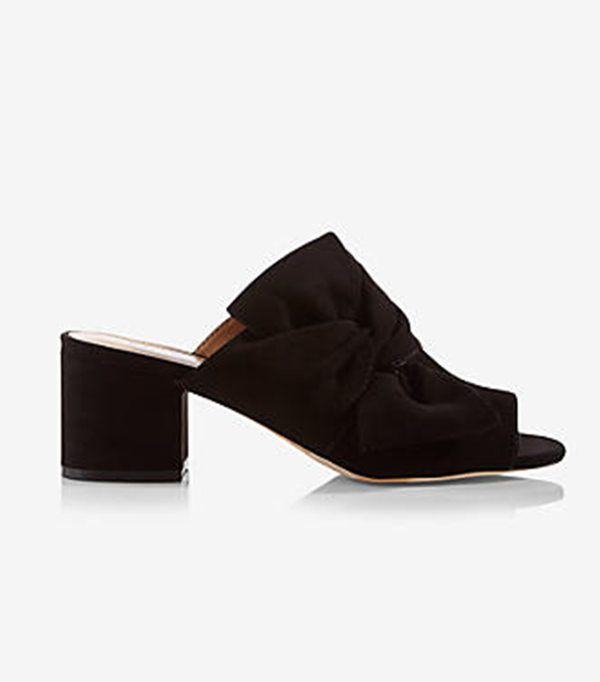Womens Bow Heeled Mule