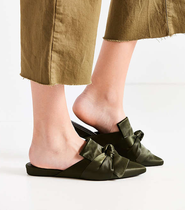 Dello Satin Mule - Green 8 1/2 at Urban Outfitters