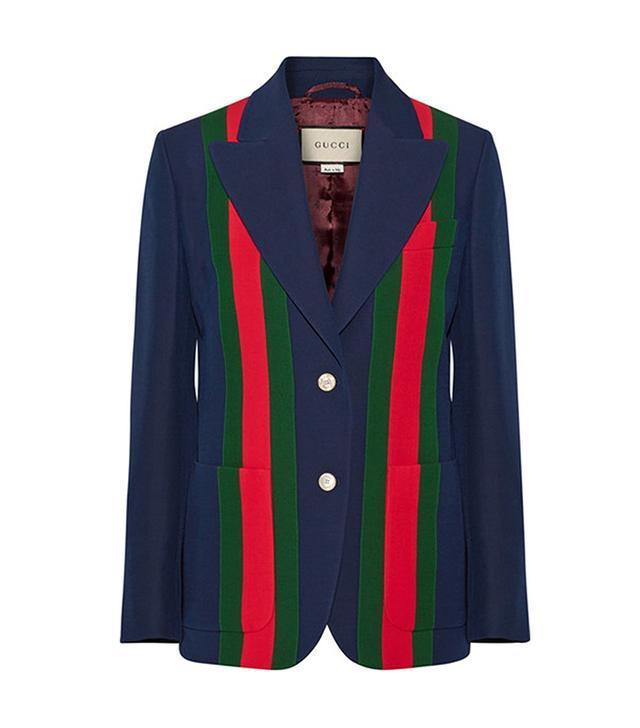 Striped Wool And Silk-blend Crepe Blazer