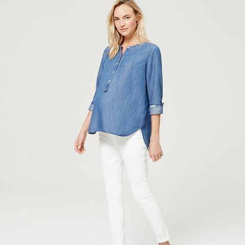 Petite Maternity Demi Panel Skinny Jeans in White