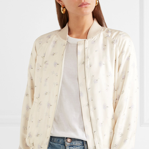 Jacque Floral-Print Silk-Satin Bomber Jacket