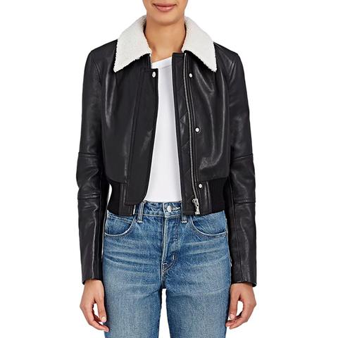 Leather Crop Bomber Jacket