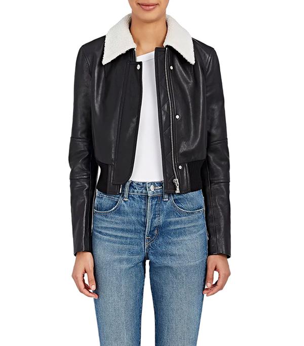 Women's Leather Crop Bomber Jacket
