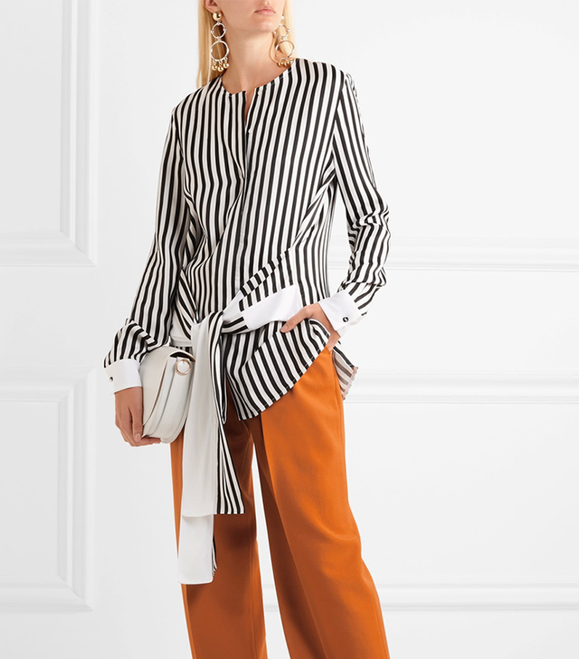 Tie-front Striped Satin-twill Shirt