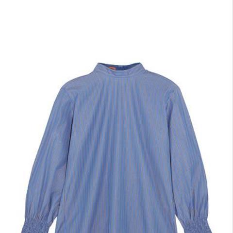 Revolution Shirred Striped Cotton-Poplin Top