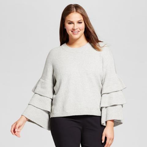 3/4 Sleeve Tiered Ruffle Crew Sweater