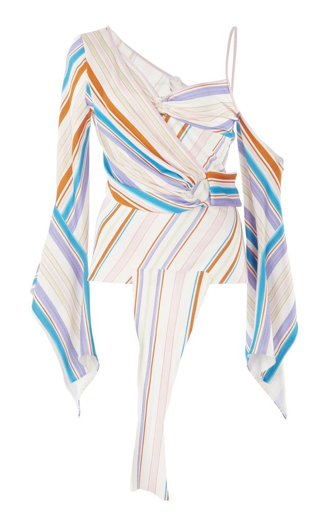 Striped Jersey Half Wrap Top