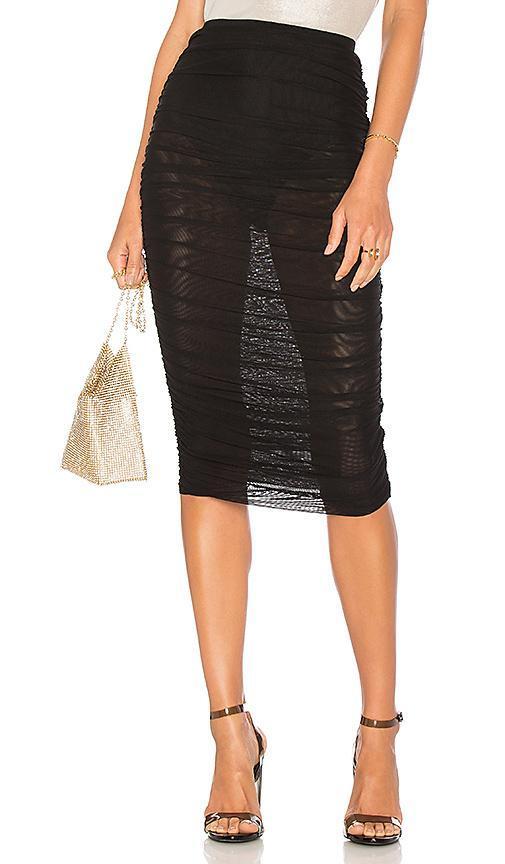 Kinsley Mesh Midi Skirt in Black. - size XXS (also in S,XS,M)