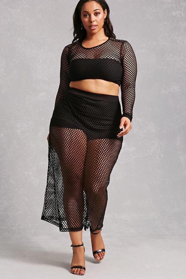 Plus Size Sheer Mesh Skirt