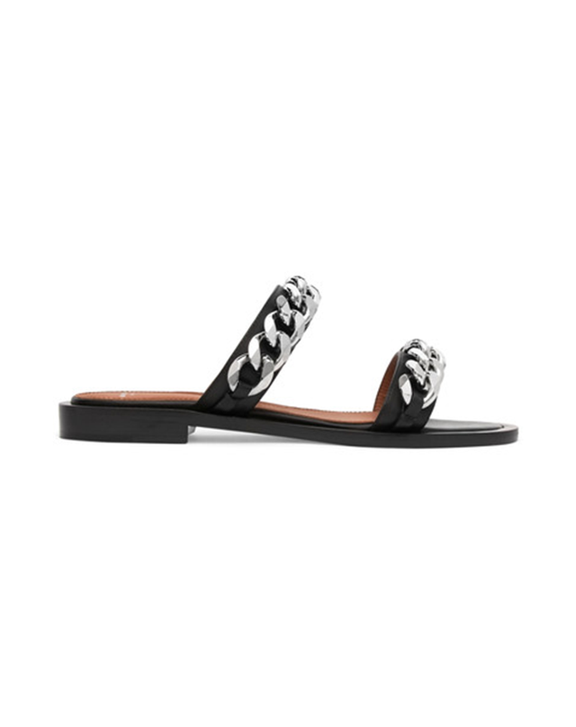 Givenchy Chain-Trimmed Leather Sandals