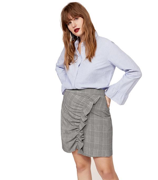 Ruffled checked skirt