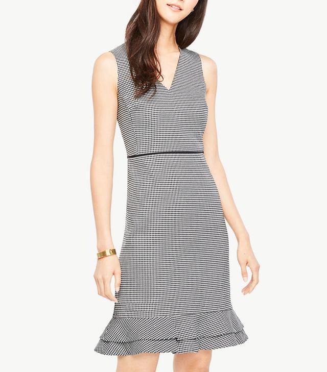 Ann Taylor Houndstooth Flounce Sheath Dress