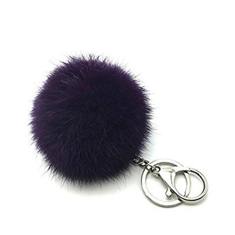 Soft Elegant Real Rabbit Fur Pompom Ball Car Key Chain