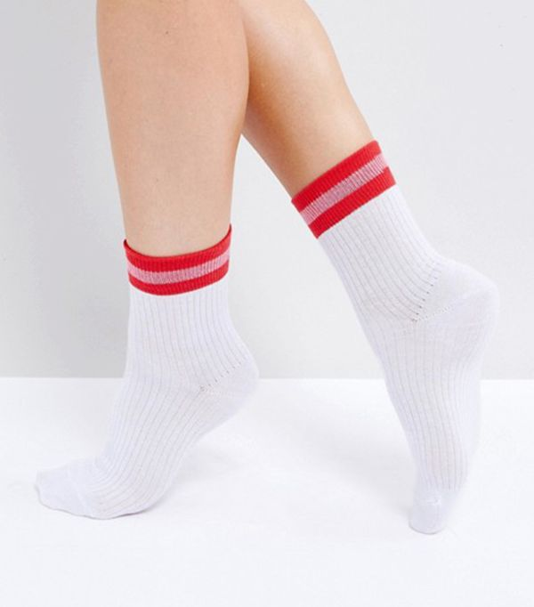 Ribbed Deep Welt Ankle Sock in White with Red Stripe