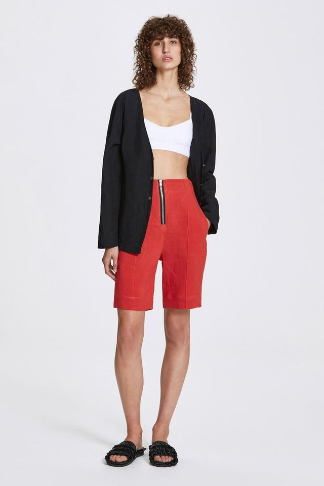 Her Line Exposed Wide Leg Shorts Heavy Linen in Lava Red