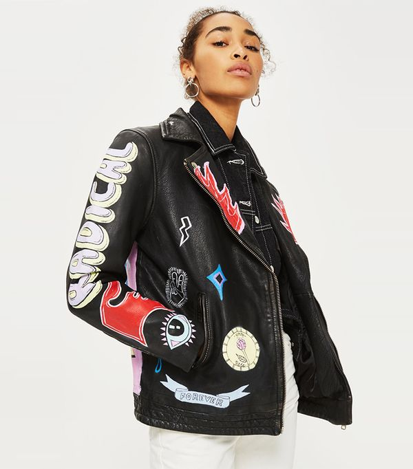 Topshop Painted Leather Biker