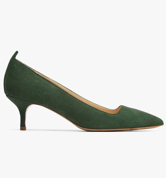 Everlane The Editor Heels in Dark Green