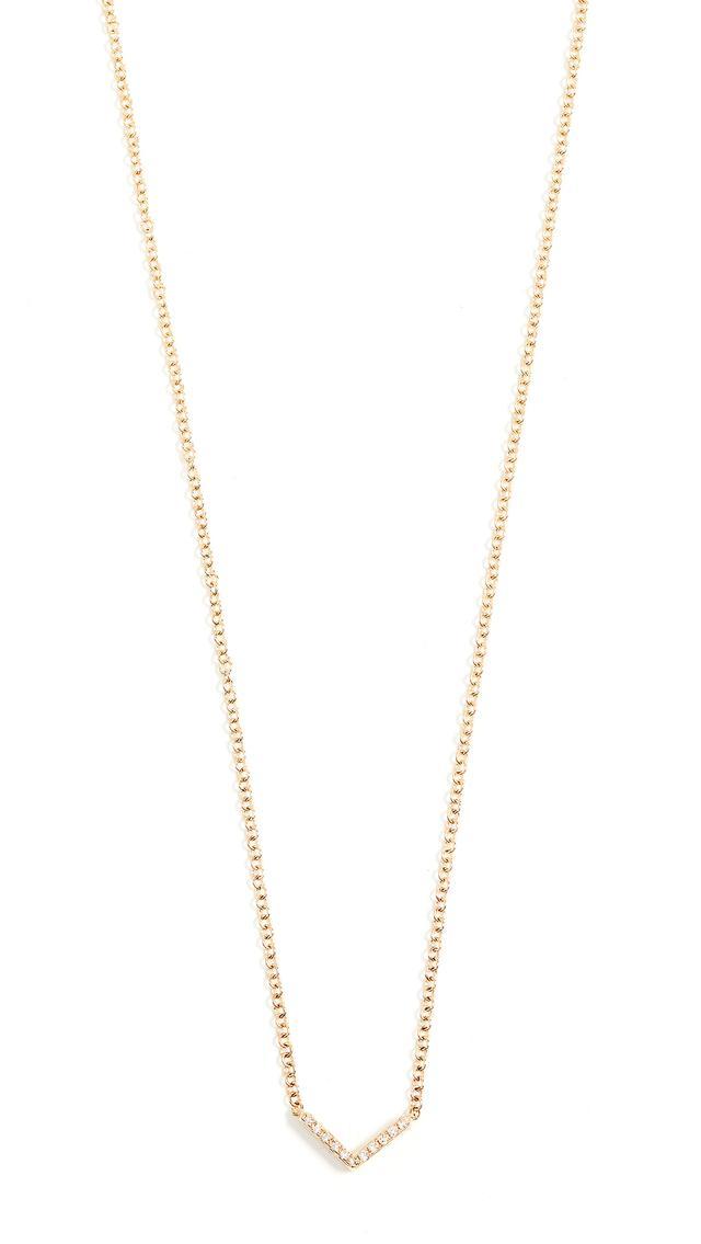 EF Collection 14k Gold Diamond Mini Chevron Necklace
