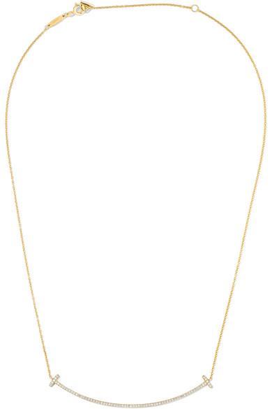 "Tiffany & Co. T Smile 16-18"" 18-karat gold diamond necklace"
