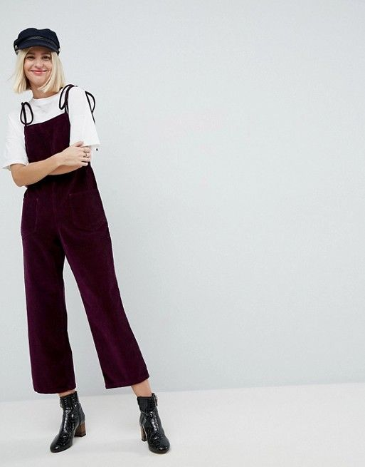 Cord Jumpsuit in Berry With Tie Strap
