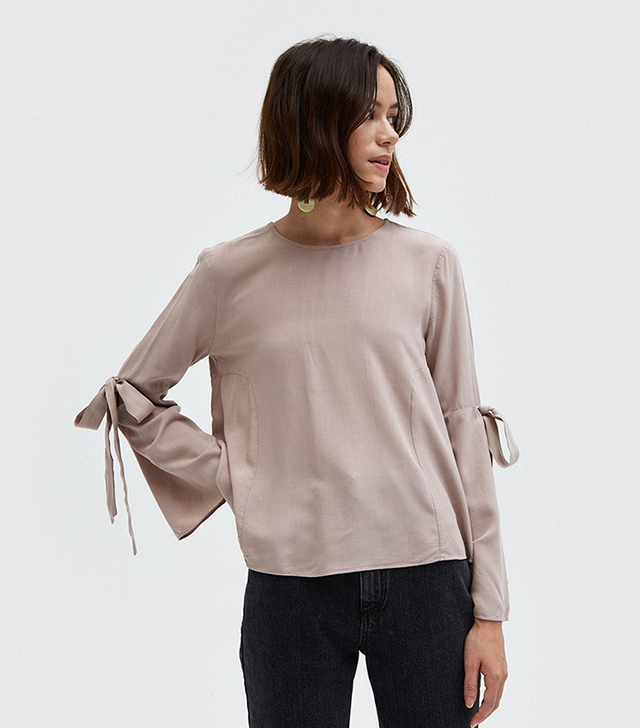 Tied Ribbon Sleeve Top in Mauve