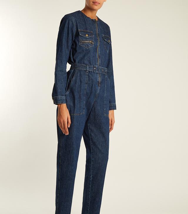 Amelia patch-pocket denim jumpsuit