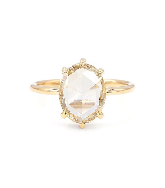 Everett 2.42-Carat Champagne Rose Cut Oval Diamond Solitaire