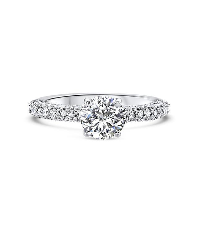 Ritani Three Row Pave Diamond Engagement Ring