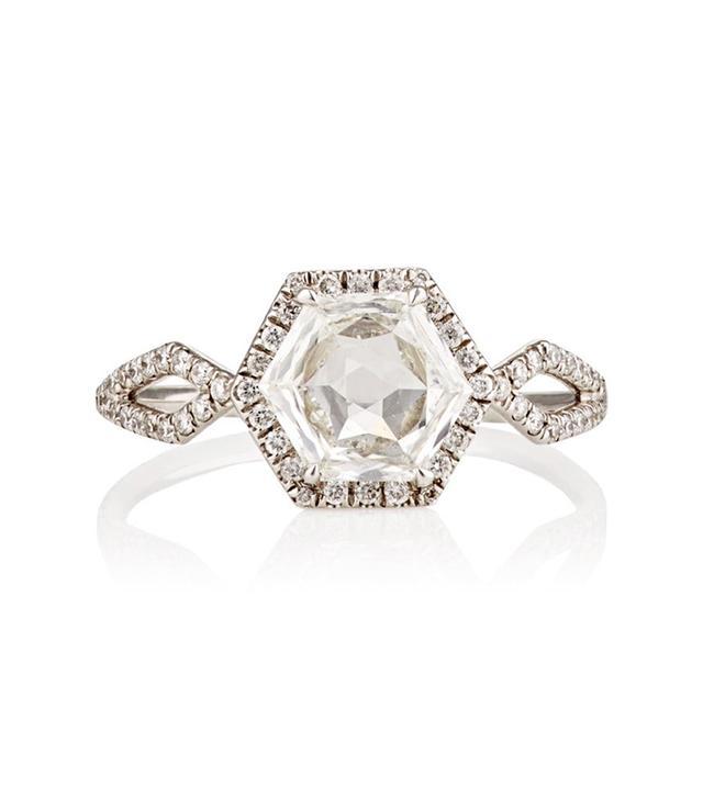 Women's Hexagonal White Diamond Ring