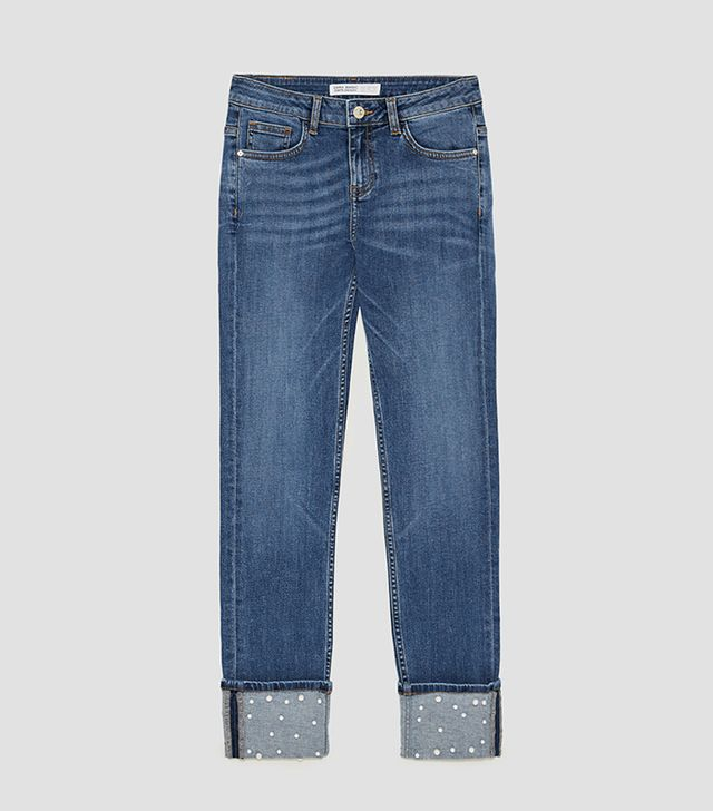 Zara Mid Rise Jeans With Pearl Beads