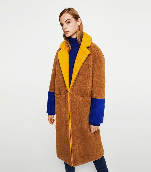 Contrast faux fur coat