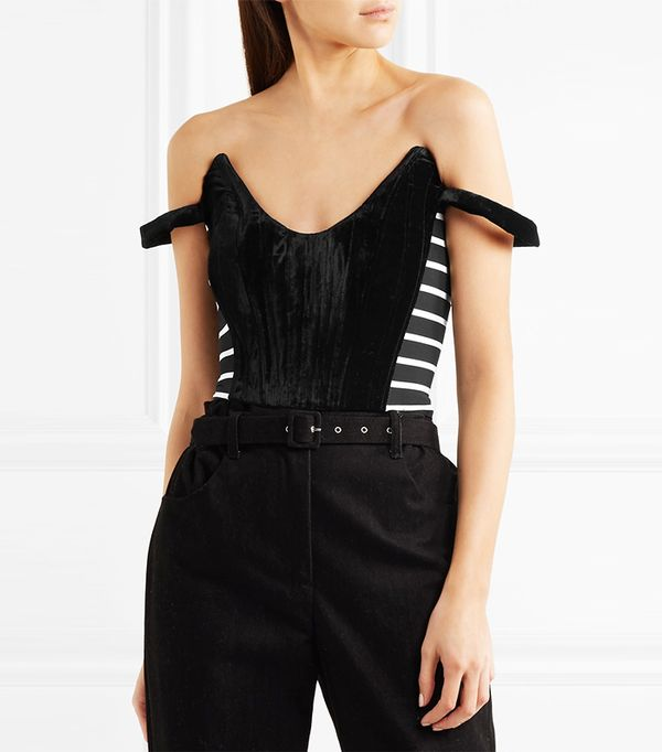 Penelope Striped Jersey And Velvet Top