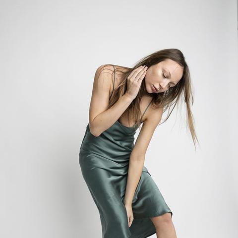 90s Silk Slip Dress Sea