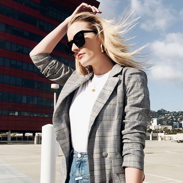 Yes, Every Fashion Editor Is Wearing a Plaid Blazer   Who What Wear b2a641c5acf9