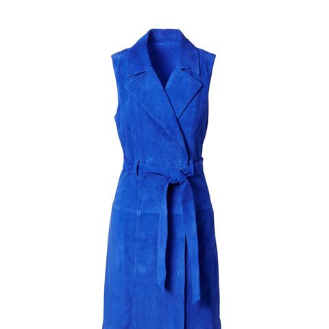 Suede Trench Shift Dress