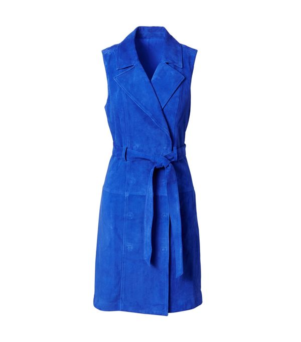 Womens Suede Trench Shift Dress