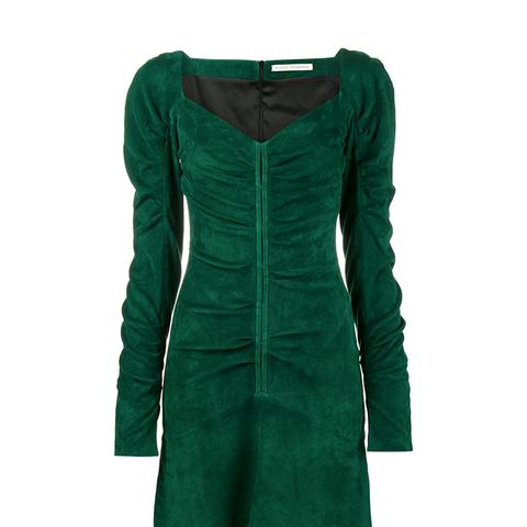 Suede Sweetheart Ruched Mini Dress