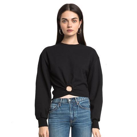 Black Ring Crop Sweatshirt