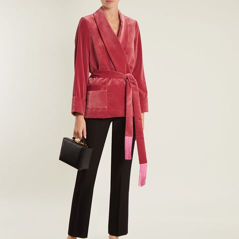 Tassel-Embellished Belted Velvet Jacket