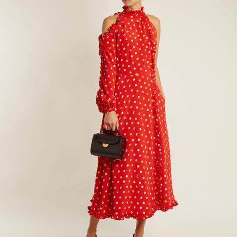 One-Shoulder Cut-Out Polka-Dot Crepe Dress