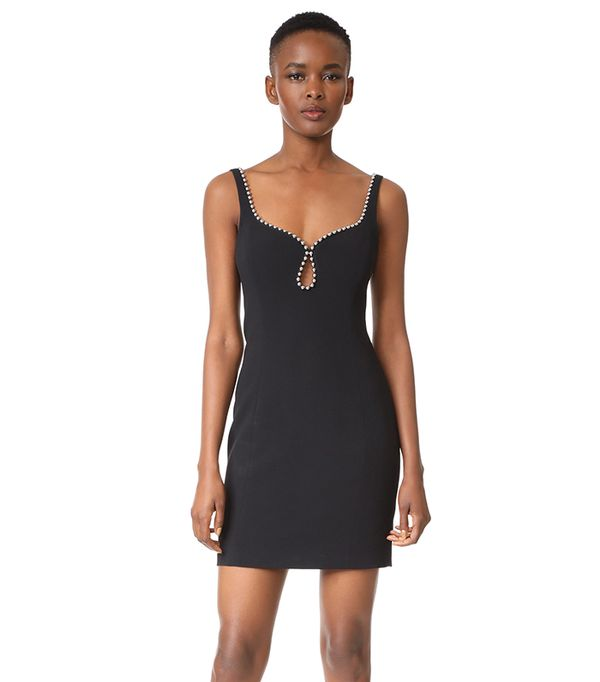 Sheath Dress with Ball Chain Neckline