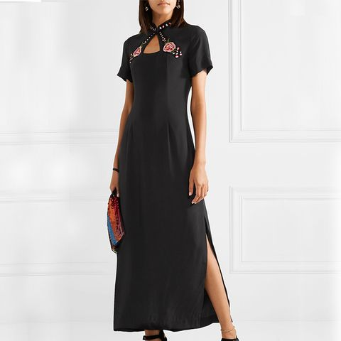 Clevel Embroidered Crepe de Chine Maxi Dress