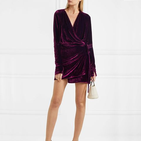 Crushed-Velvet Wrap Minidress