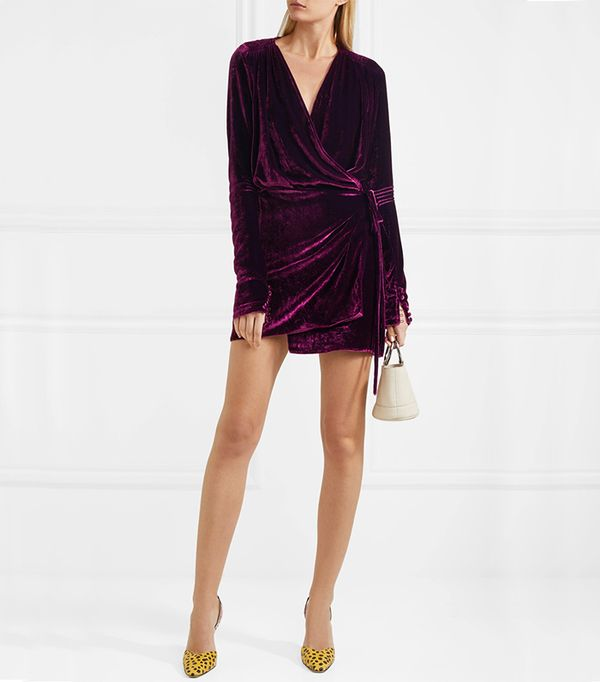 Crushed-velvet Wrap Mini Dress