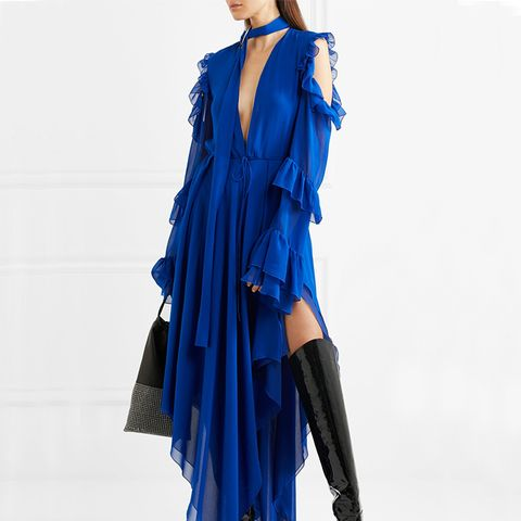 Cold-Shoulder Ruffled Silk-Chiffon Maxi Dress